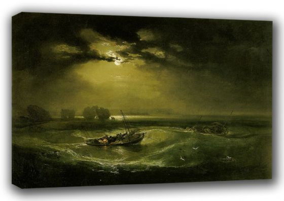 Turner, William: Fishermen at Sea. Moonlit Seascape Fine Art Canvas. Sizes: A3/A2/A1 (00566)